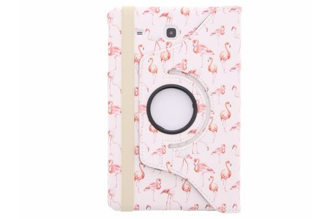 360° Draaibare Design Bookcase voor Samsung Galaxy Tab E 9.6 - Flamingo