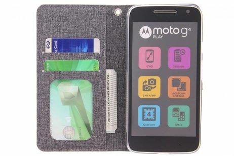 Linnen Booktype voor Motorola Moto G4 Play - Donkergrijs