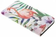 Design Hardcase Booktype voor Huawei P8 Lite (2017) - Flamingo Flowers