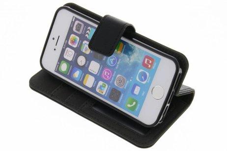 Luxe Lederen Booktype voor iPhone SE / 5 / 5s - Zwart