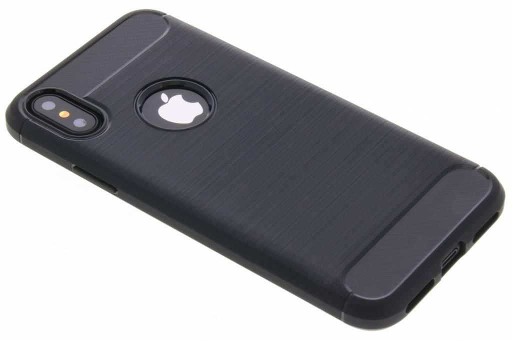 Brushed Backcover voor iPhone X / Xs - Zwart