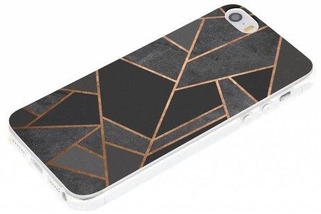 Design Backcover voor iPhone SE / 5 / 5s - Grafisch Zwart / Koper