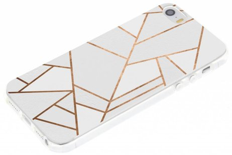 Design Backcover voor iPhone SE / 5 / 5s - Grafisch Wit / Koper