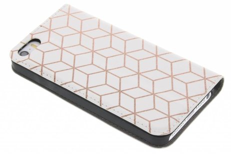Design Hardcase Booktype voor iPhone SE / 5 / 5s - Cubes Rose Gold