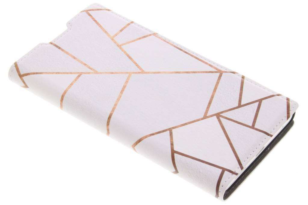 Design Hardcase Booktype voor Sony Xperia L1 - Grafisch Wit / Koper