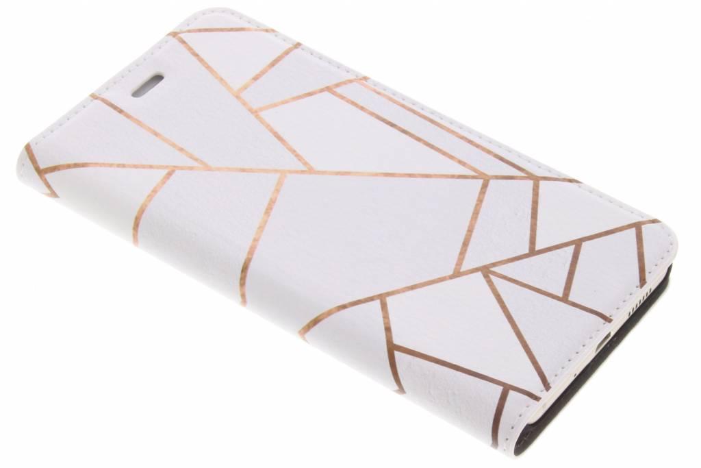 Design Hardcase Booktype voor Huawei P10 Lite - Grafisch Wit / Koper