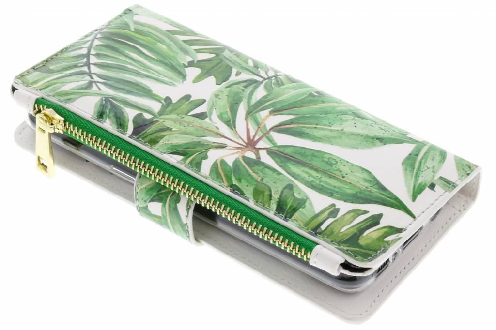 Design Luxe Portemonnee voor Samsung Galaxy S8 - Bladeren Groen