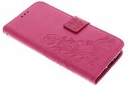 Klavertje Bloemen Booktype voor Motorola Moto G5S - Roze