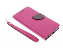 Fuchsia blad design TPU booktype hoes LG G4