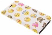 Design Hardcase Booktype voor Motorola Moto E4 Plus - Emoji Smiley