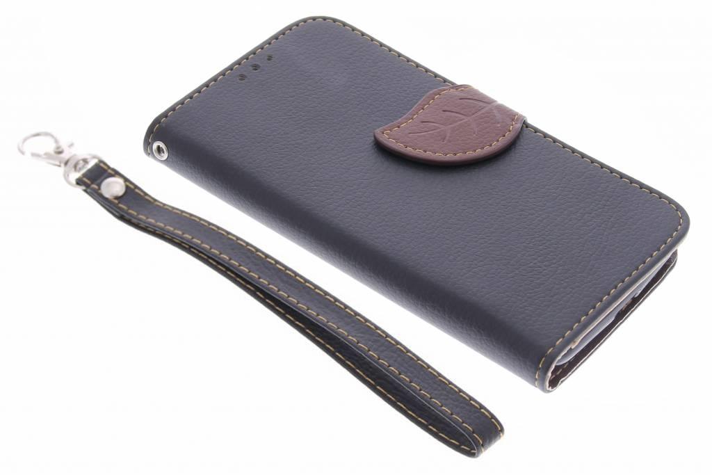 Zwarte blad design TPU booktype hoes voor de Motorola Moto G 3rd Gen