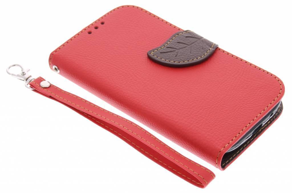 Rode blad design TPU booktype hoes voor de Samsung Galaxy S3 / Neo