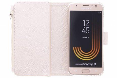 Selencia Saffiano 9 slots Portemonnee voor Samsung Galaxy J3 (2017) - Wit