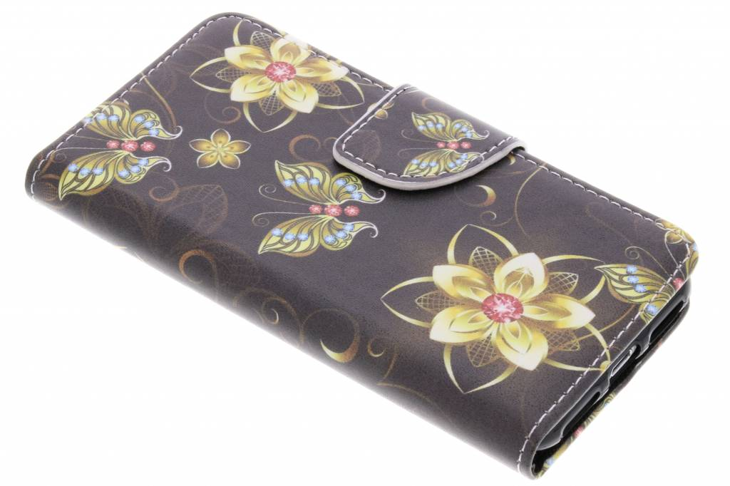 Vlinders met bloemen design TPU booktype hoes voor de iPhone 8 / 7