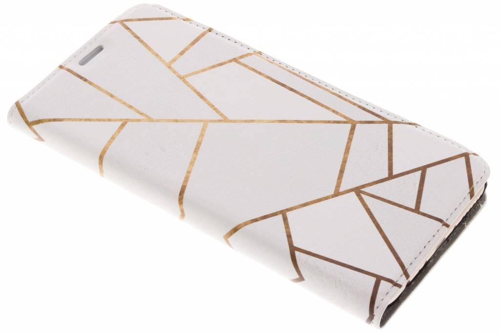 Design Hardcase Booktype voor Huawei Mate 10 Lite - Grafisch Wit / Koper