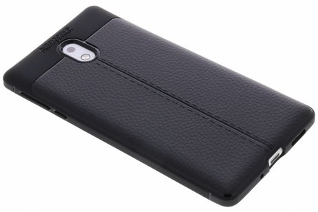 Nokia 3 hoesje - Lederen Backcover met stiksel