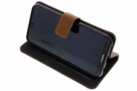 Luxe Lederen Booktype voor Huawei P20 Lite - Bruin