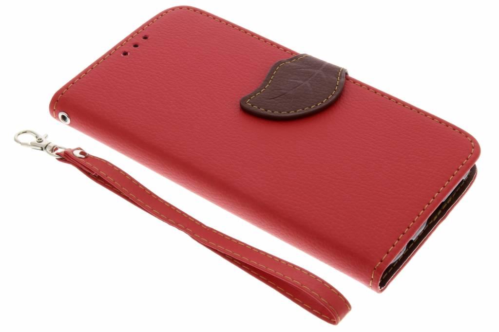 Blad Design Booktype voor Huawei P20 Lite - Rood