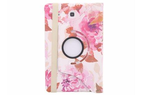 360° Draaibare Design Bookcase voor Samsung Galaxy Tab E 9.6 - Bloemen Roze