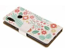 Flowers & Leaves Design TPU Bookcase Asus ZenFone Max M1