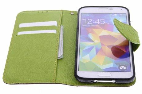 Blad Design Booktype voor Samsung Galaxy S5 (Plus) / Neo - Bruin