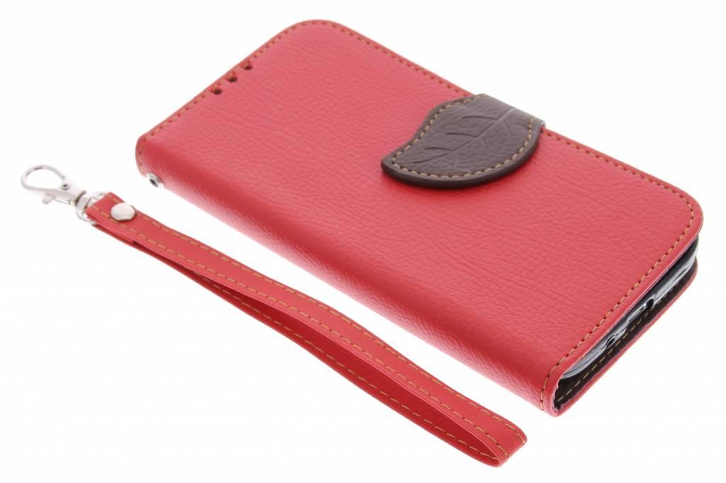 Blad Design Booktype voor Samsung Galaxy S4 - Rood