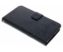 Zwart Klavertje bloemen booktype hoes Sony Xperia XZ2