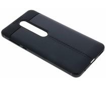 Zwart Lederen siliconen case Nokia 6 (2018)