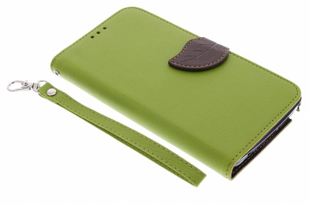 Blad Design Booktype voor Samsung Galaxy Note 4 - Groen