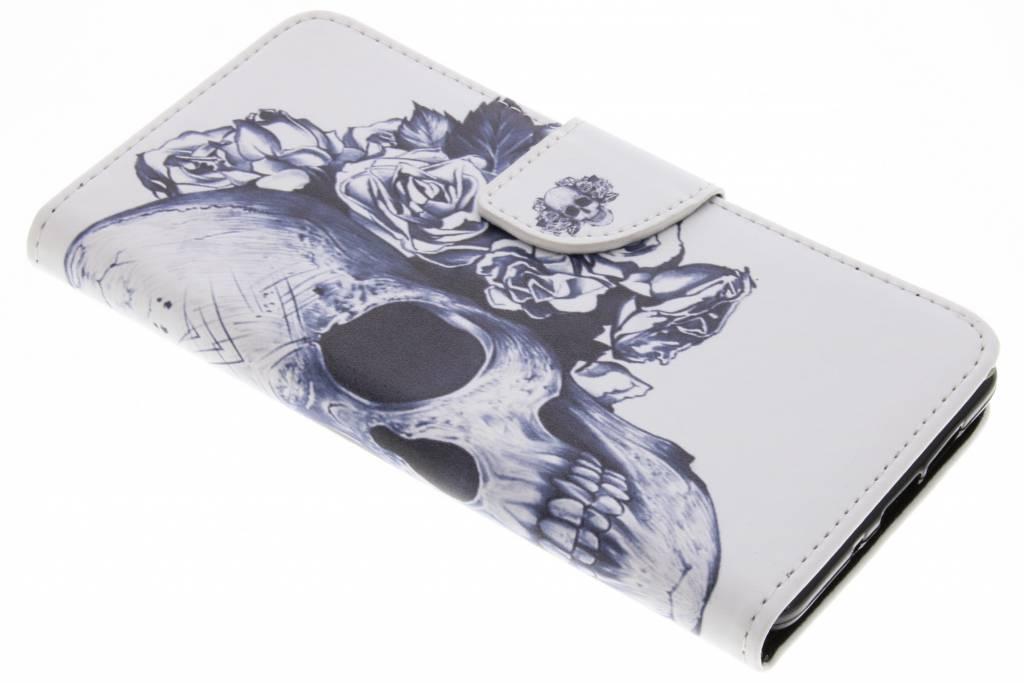 Doodshoofd design TPU booktype hoes voor de Nokia 7 Plus