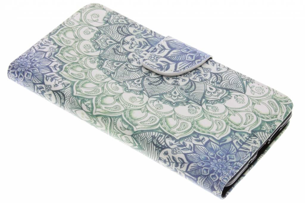 Blauwe mandala design TPU booktype hoes voor de Nokia 7 Plus