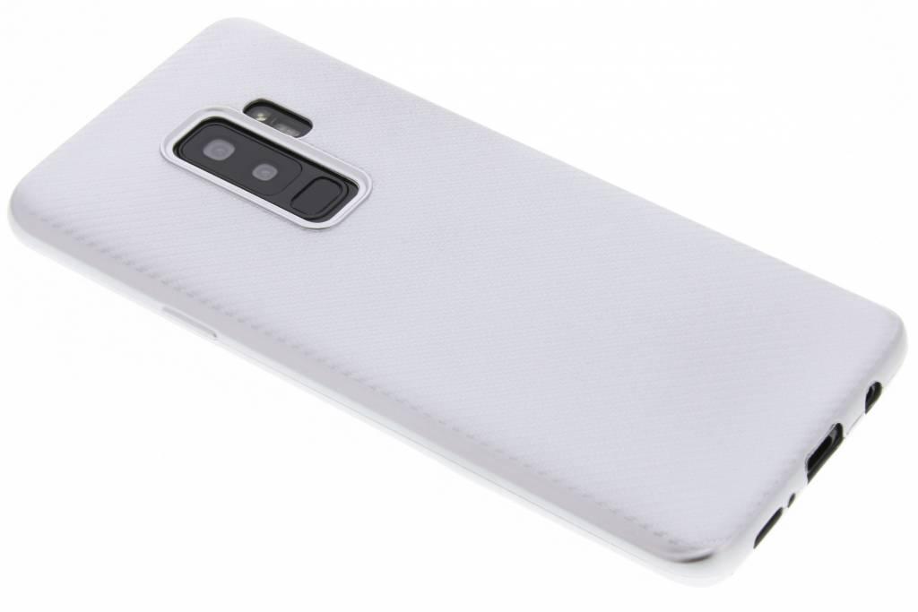 Zilver Carbon siliconen hoesje voor de Samsung Galaxy S9 Plus