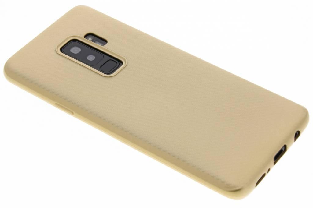 Goud Carbon siliconen hoesje voor de Samsung Galaxy S9 Plus