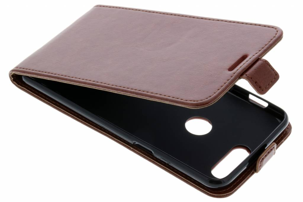 Bruine lederen TPU Flipcase voor de OnePlus 5T