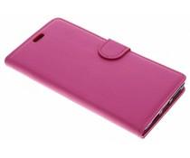 Roze Litchi Booktype Hoes Alcatel 5