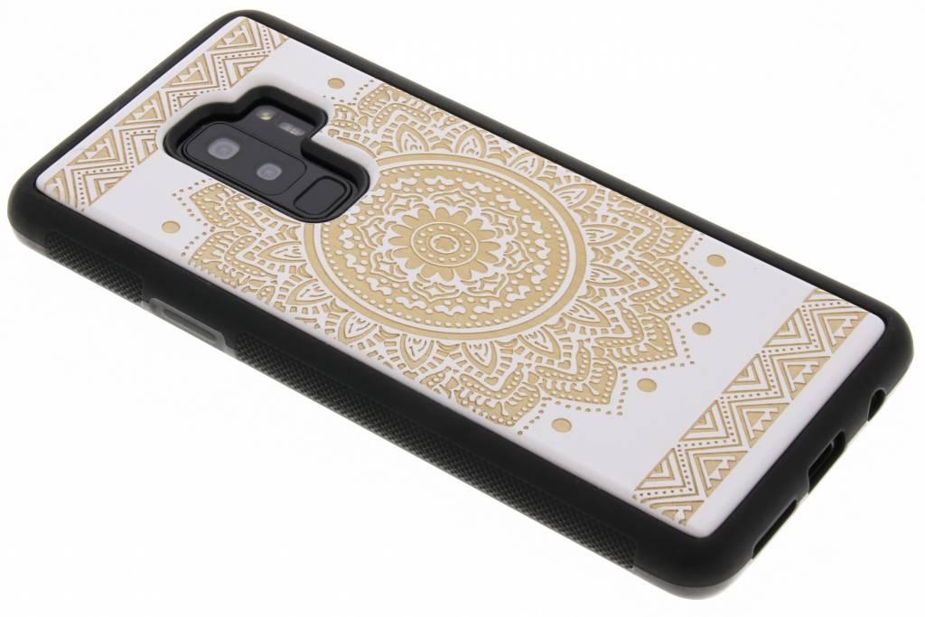 Wit mandala hout hardcase hoesje voor de Samsung Galaxy S9 Plus