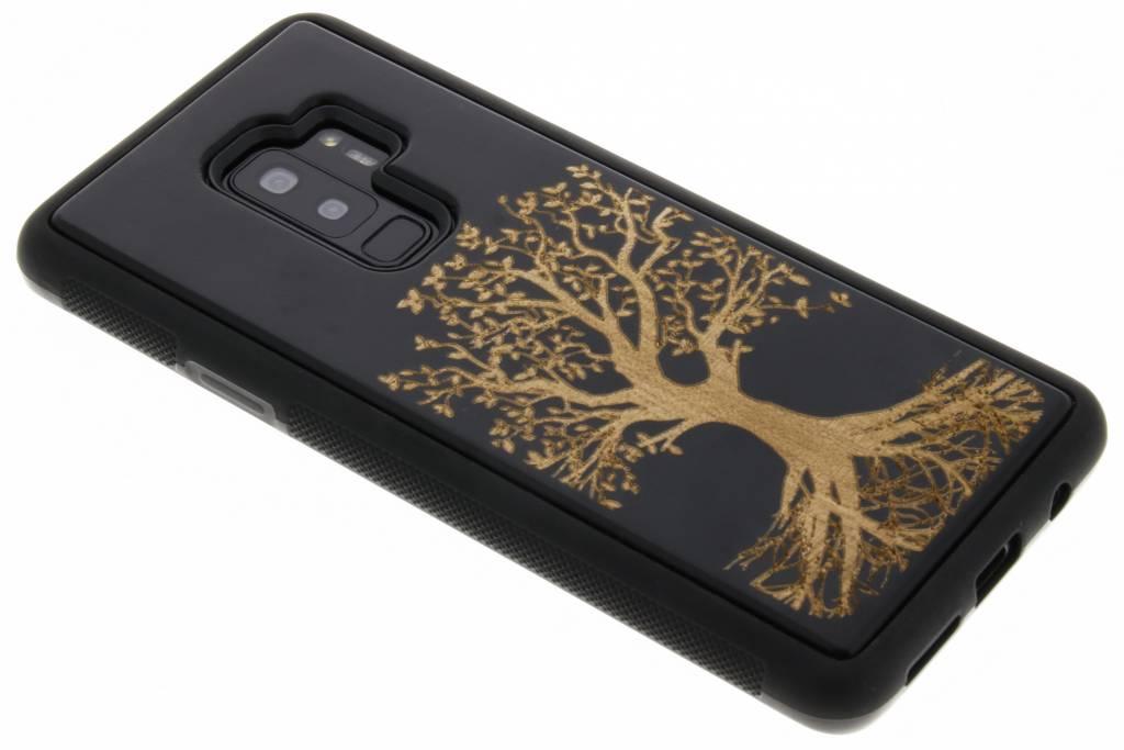 Zwart boom hout hardcase hoesje voor de Samsung Galaxy S9 Plus