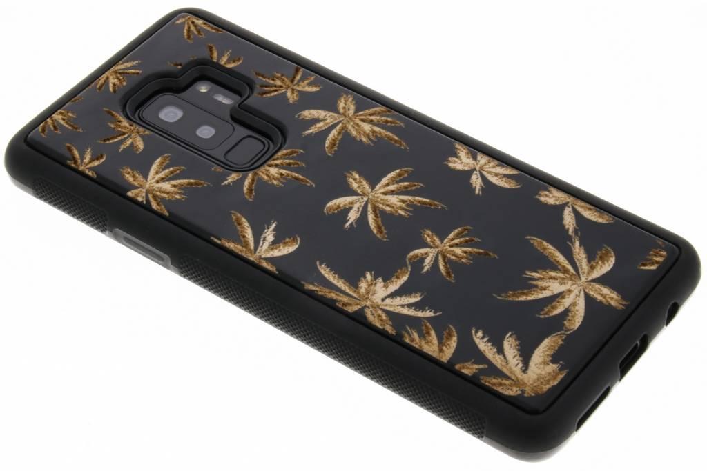 Zwart palmboom hout hardcase hoesje voor de Samsung Galaxy S9 Plus