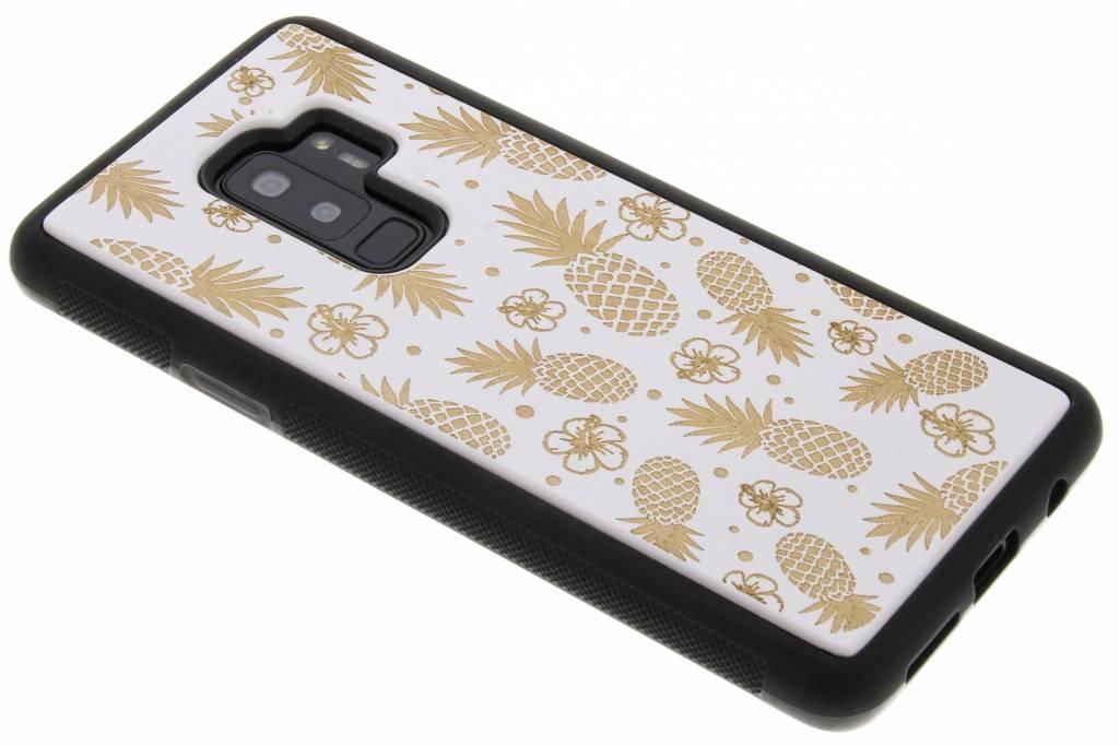 Wit ananas hout hardcase hoesje voor de Samsung Galaxy S9 Plus