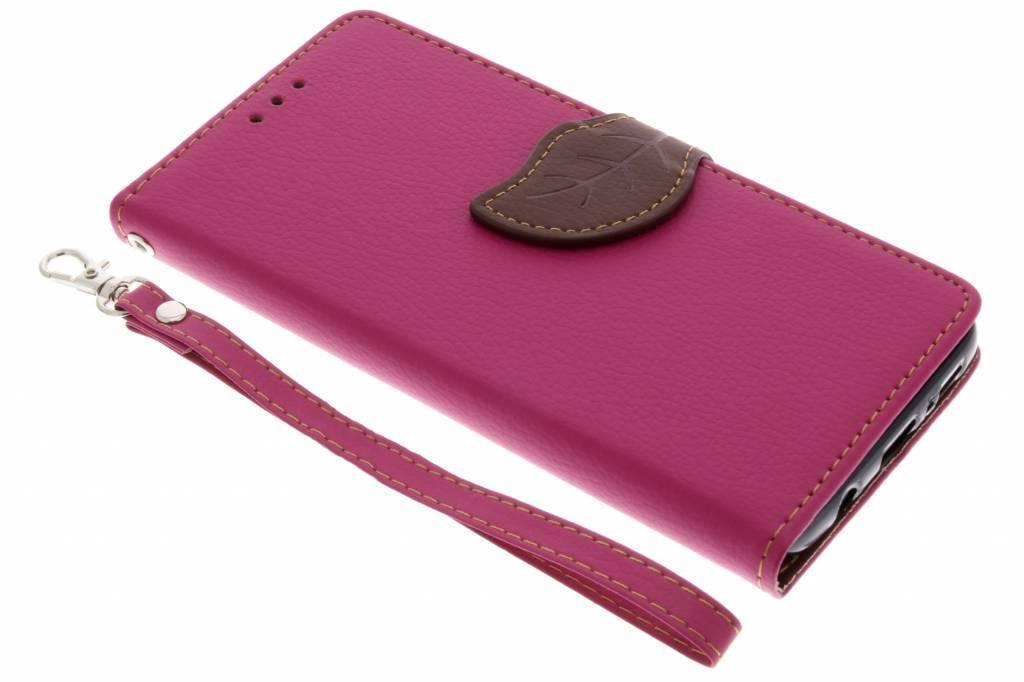 Fuchsia blad design booktype hoes voor de Samsung Galaxy S9