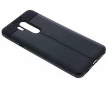 Zwart Lederen siliconen case LG G7