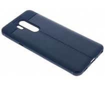 Donkerblauw Lederen siliconen case LG G7