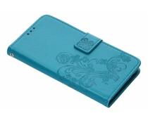 Turquoise Klavertje bloemen booktype hoes OnePlus 6