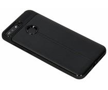 Zwart Lederen siliconen case Huawei Y6 (2018)