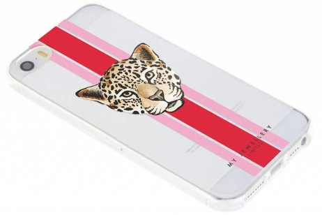 My Jewellery Design Backcover voor iPhone SE / 5 / 5s - Leopard Rood
