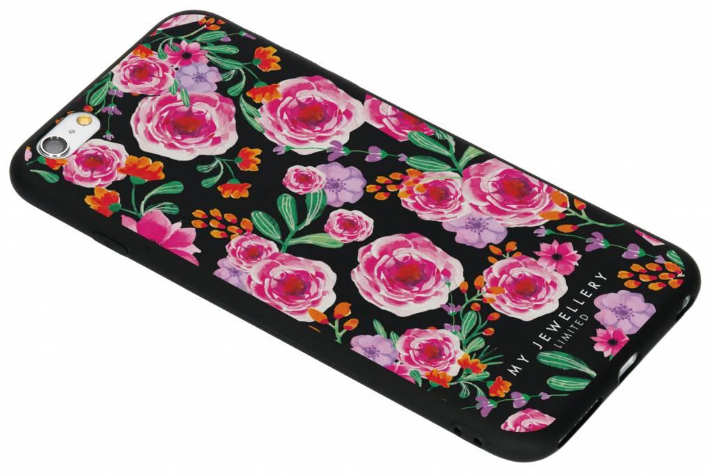 My Jewellery Design Backcover voor iPhone 6(s) Plus - Pink Flowers Zwart