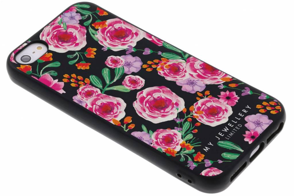 My Jewellery Design Backcover voor iPhone SE / 5 / 5s - Pink Flowers Zwart