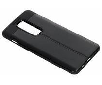 Zwart Lederen siliconen case OnePlus 6