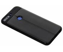 Zwart Lederen siliconen case Huawei Y7 (2018)
