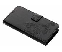 Zwart Klavertje bloemen booktype hoes LG G7